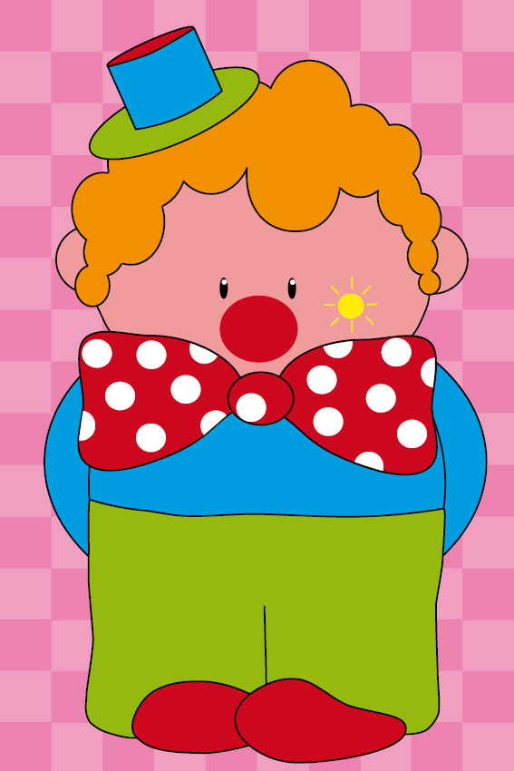 Clown Dirk roze blokken