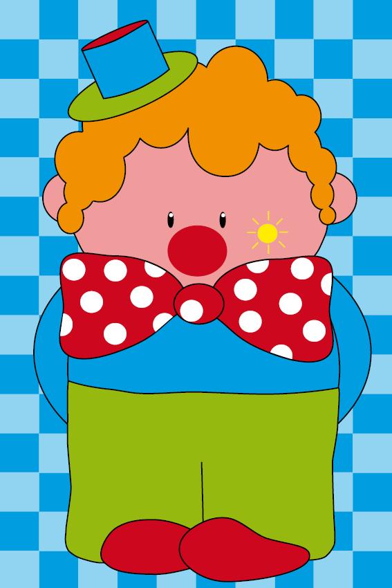 Clown Dirk blauwe blokken