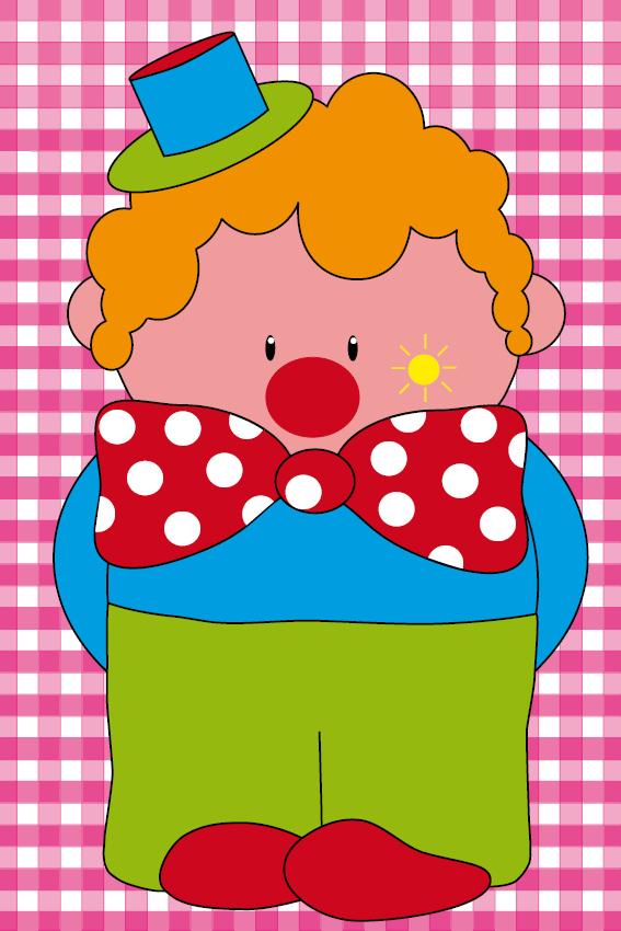 Clown Dirk roze ruit