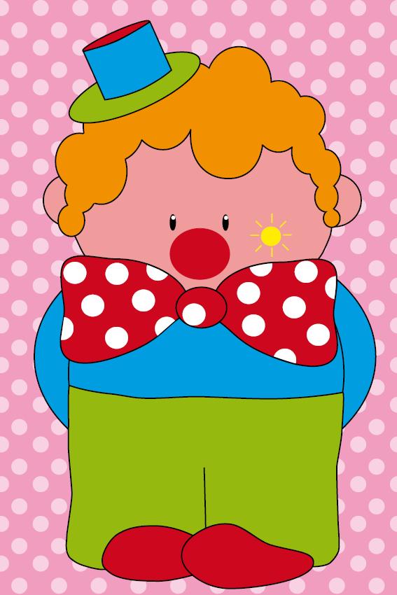 Clown Dirk stippen roze