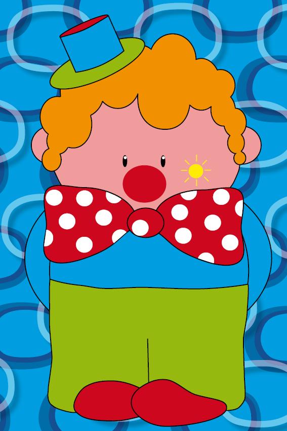 Clown Dirk blauwe ringen