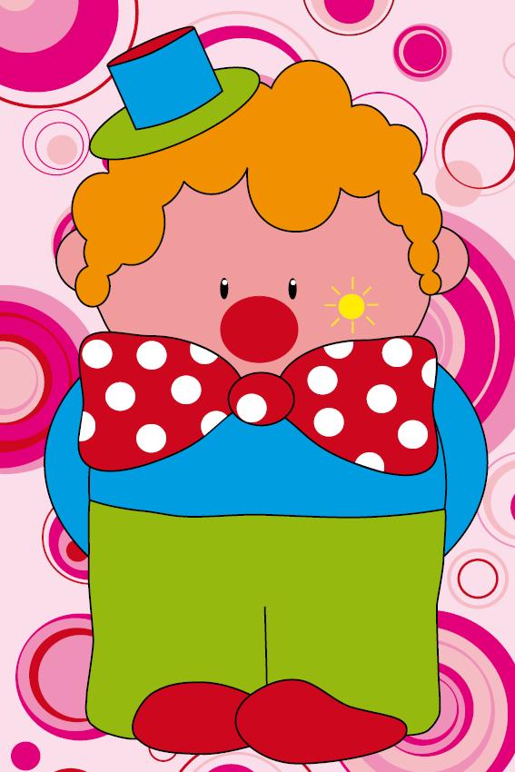 Clown Dirk roze cirkels