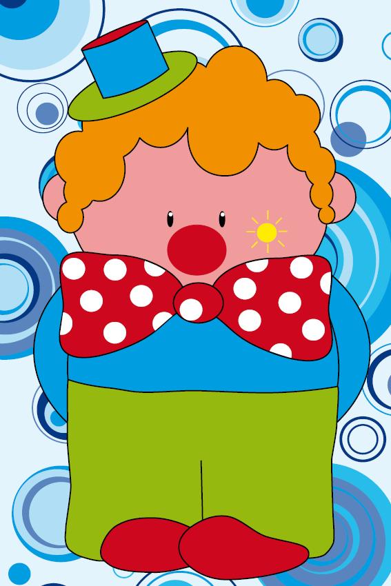 Clown Dirk blauwe cirkels