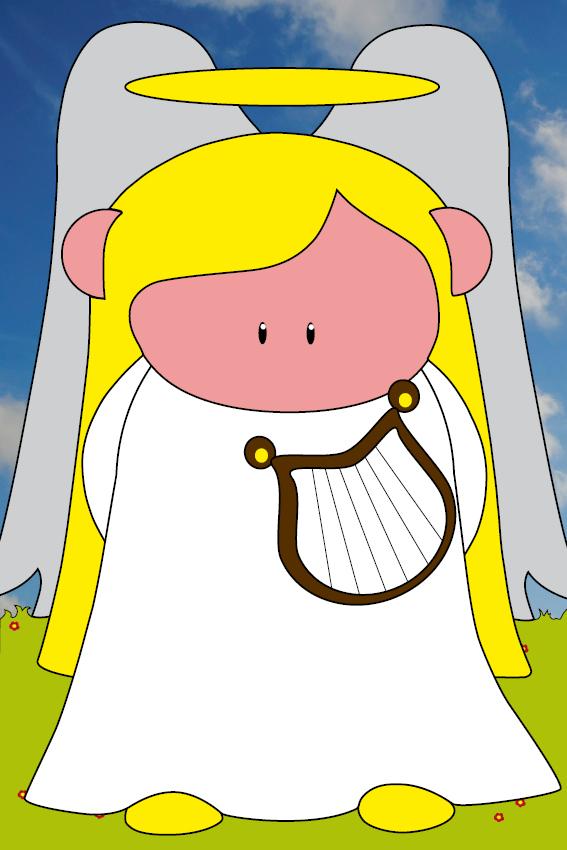 Engel Maria gras en foto wolken