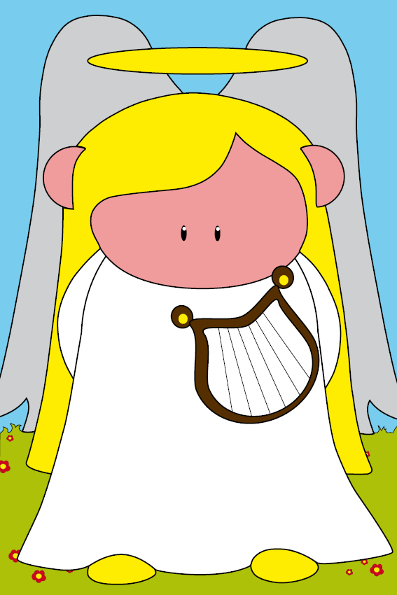 Engel Maria gras en wolken