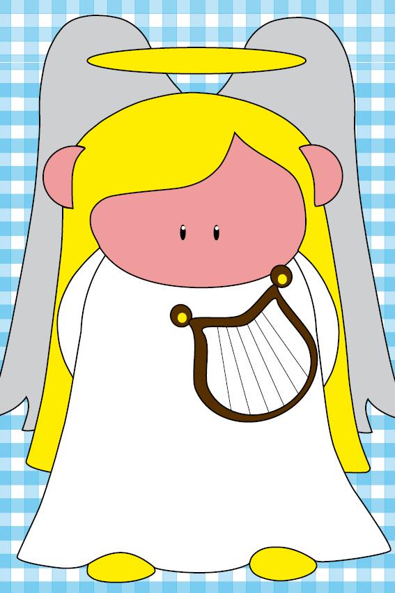 Engel Maria blauwe ruit