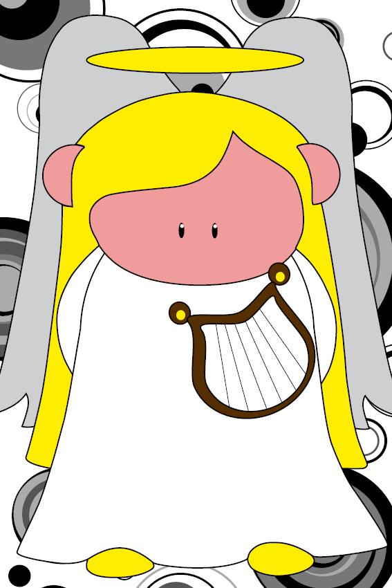 Engel Maria cirkels zwart
