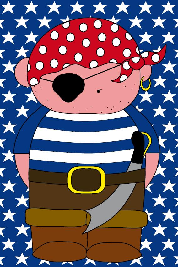 Piraatje Bas blauwe sterren