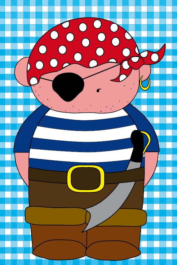 Piraatje Bas blauwe ruit