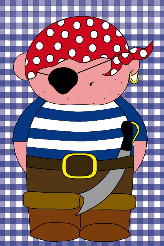 Piraatje Bas donker blauwe ruit
