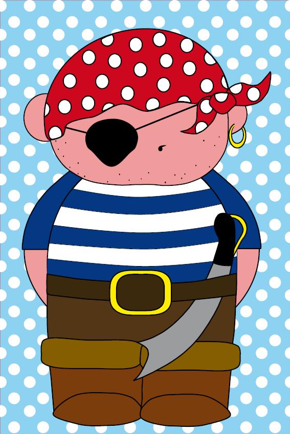 Piraatje Bas baby blauwe stippen
