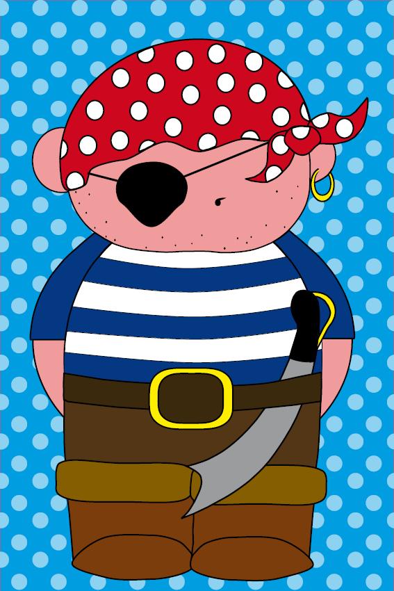 Piraatje Bas blauwe stippen