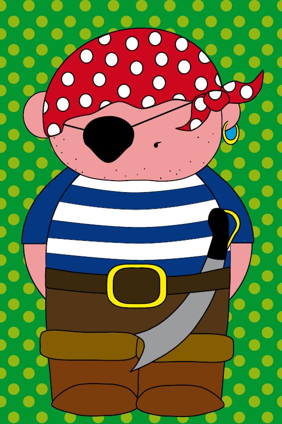 Piraatje Bas groene stippen