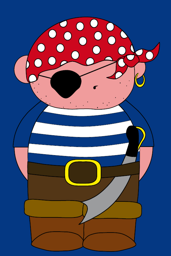 Piraatje Bas donker blauw