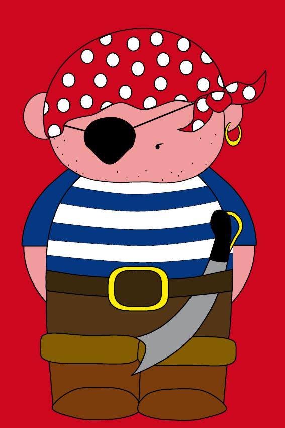 Piraatje Bas rood