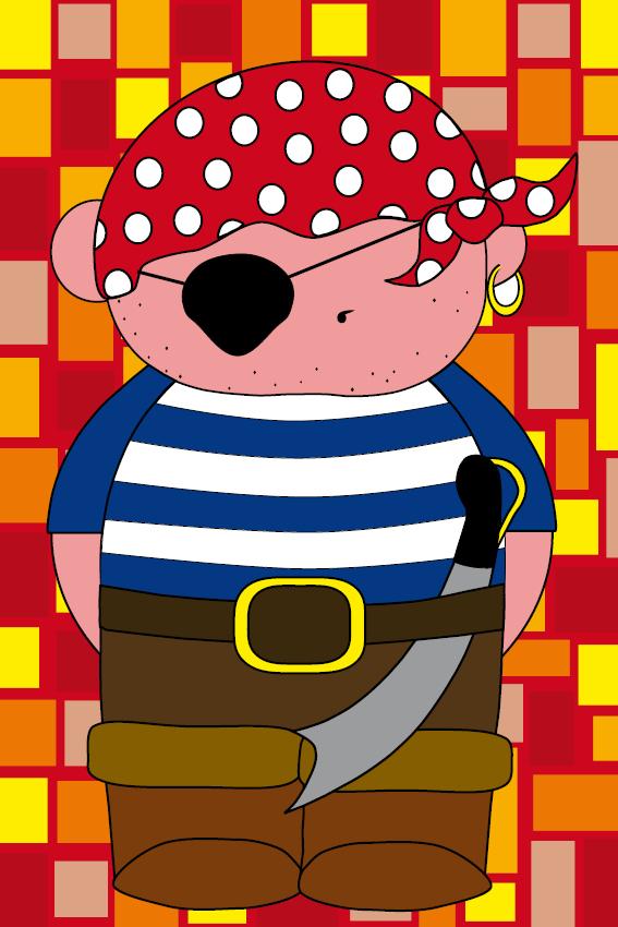 Piraatje Bas rode blokken