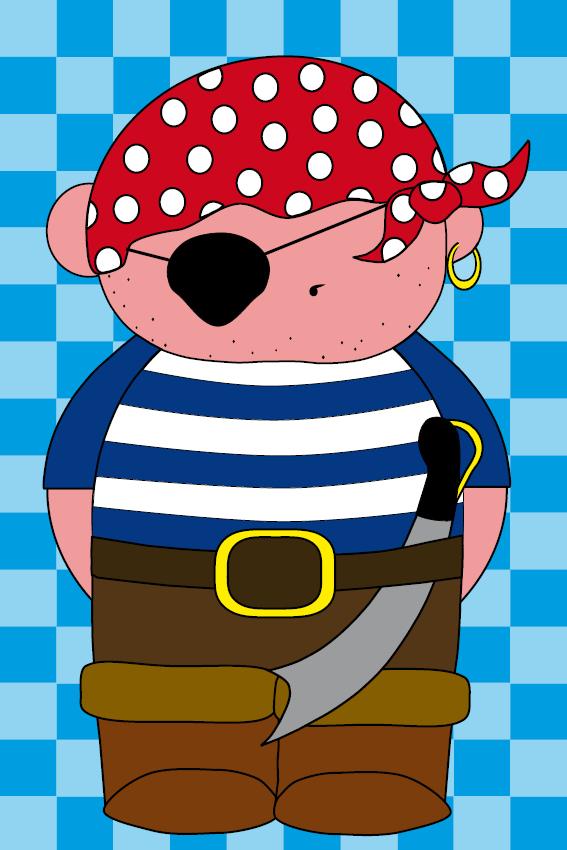 Piraatje Bas blauwe blokken