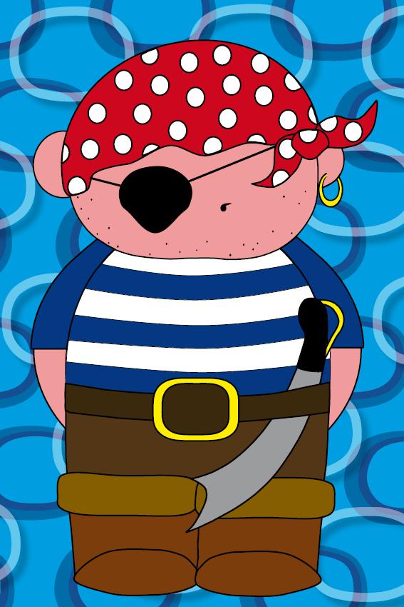 Piraatje Bas blauwe ringen