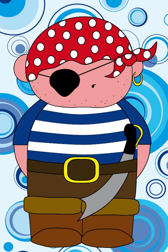 Piraatje Bas blauwe cirkels
